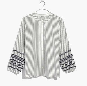 Madewell Striped Embroidered Shirt, XXS